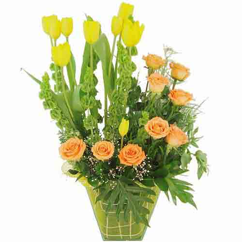 Best Wishes Flower Bouquet of Tulips N Roses