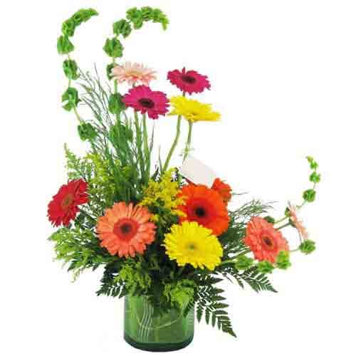 Beautiful Floral Display of Mixed Gerberas in a Glass Vase