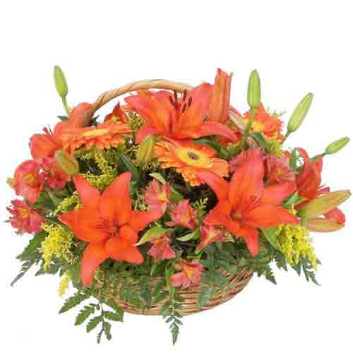 Classic Assortment of Mixed Flowers in a Basket