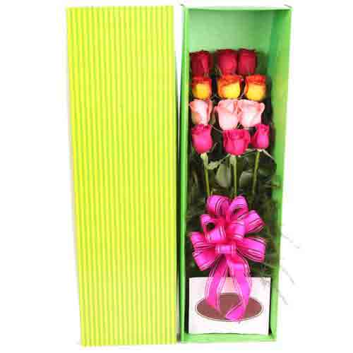 Blossoming Assemble of Long-Stemmed Roses in a Box