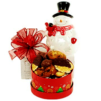 Christmas Snowman Candle Holder with Cookies