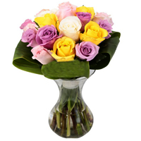 Elegant Bouquet of 12 Mixed Color Roses <br>
