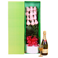 Blissful V-Day Gift of Moet Chandon with Long Stem Pink Roses in Gift Box <br>