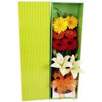 Fabulous V-Day Gift of Imported Strawberry Truffles with Gerberas N Lilies Gift Box <br>