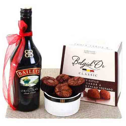 Mesmerizing Red Wine N Choco Delight Gift Hamper