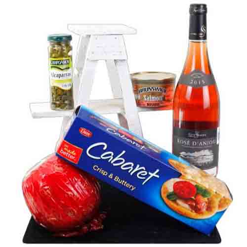Christmas Surprise Gourmet N Rose Wine Gift Hamper