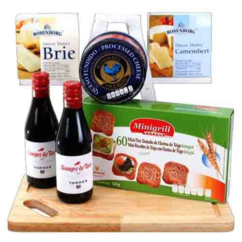 Winter Retreat Red Wine N Gourmet Gift Basket