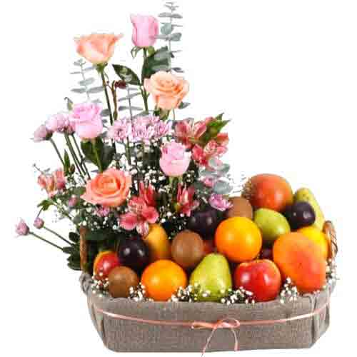 Remarkable Fruits Basket with Floral Decoration