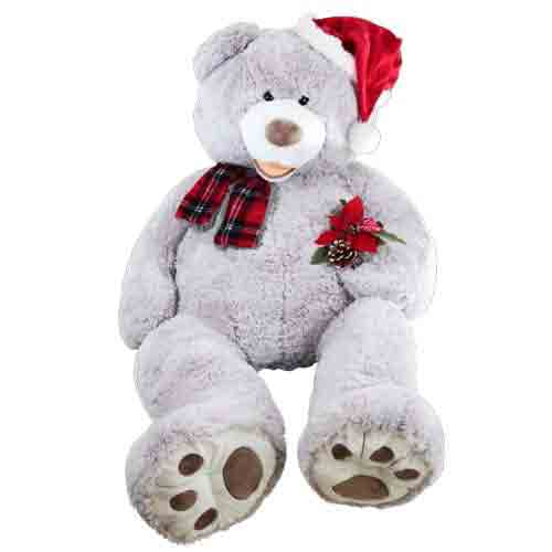 Lovely Teddy adorned with X-mas Hat and Scarf