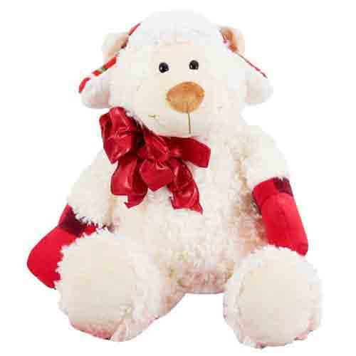 Cute Sheep Soft Toy wearing Christmas Mittens